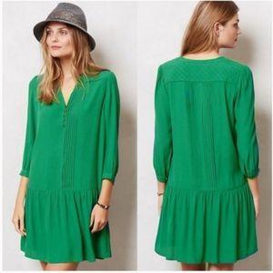 Anthropologie Maeve Galina drop waist green dress